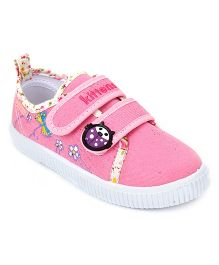 Kittens Floral Canvas Sneakers Velcro Closure - Light Pink