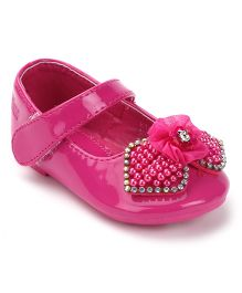 Kittens Bow Belly Shoes Velcro Closure - Fuchsia Pink