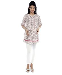 Nine Three Fourth Sleeves Maternity Tunic - Pink And White