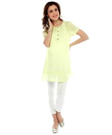 Nine Short Sleeves Maternity Tunic - Yellow
