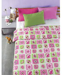 Bliss Micro Stripe Digital Dohar Double Butterfly And Heart Print - Multicolor