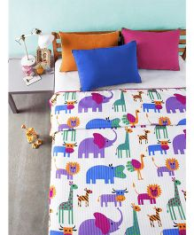 Bliss Micro Stripe Double Digital Dohar Zoo Print - Multicolor