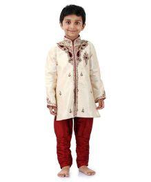 Babyhug Embroidered Kurta And Jodhpuri Breeches - White And Maroon