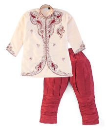 Babyhug Full Sleeves Kurta And Jodhpuri Breeches Bead Detailing - Cream And Maroon