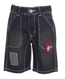 Tales & Stories Black Causal Denim Bermuda Shorts