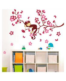 Studio Briana Cute Monkey And Pink Flower Anime Wall Art Sticker