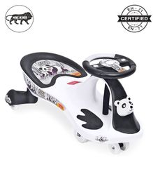 Babyhug Baby Panda Gyro Swing Car - White & Black