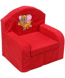 Luvely We Play Kids Sofa Chair Elephant Embroidery - Red