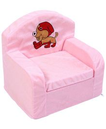 Luvely We Play Kids Sofa Chair Puppy Embroidery - Pink