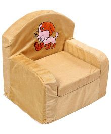 Luvely We Play Kids Sofa Chair Puppy Embroidery - Light Brown
