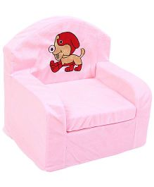 Luvely We Play Kids Sofa Chair Puppy Embroidery - Light Pink And Red
