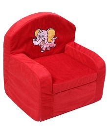 Luvely We Play Kids Sofa Chair Elephant Embroidery - Red And Pink