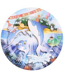 B Vishal Paper Plate Aquatic Birthday Theme Multi Color - Diameter 8.6 Inches