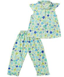 Teddy Short Sleeves Night Suit Multi Print - Green