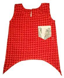 Sleeveless Uneven Hemline Top - Red