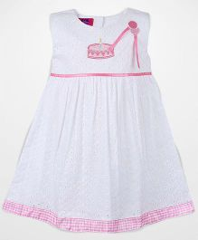 Mini Cupcake Sleeveless Embroidered Frock - White