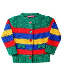 Wingsfield Full Sleeves Sweater Bow Applique - Green