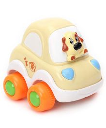 Racing Cartoon Car - White Cream
