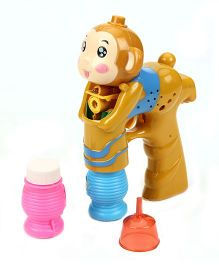 Monkey Face Design Bubble Gun - Brown Blue And Pink