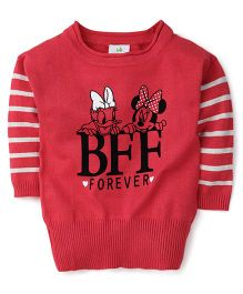 Fox Baby Full Sleeves Sweater Minnie Mouse Print - Red