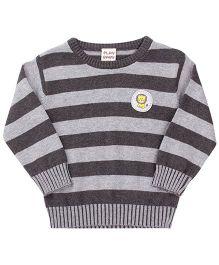 Little Kangaroos Full Sleeves Sweater Stripe Pattern - Grey