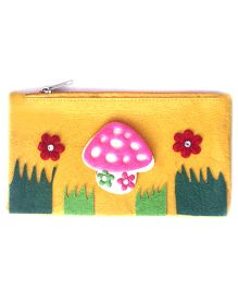 Mushroom Design Stationery Pouch - Yellow