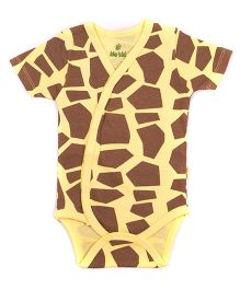 bio kid Half Sleeves Onesies Allover Print - Yellow Brown