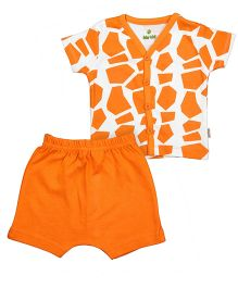 bio kid Half Sleeves Printed Night Suit - Orange