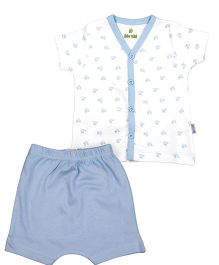 bio kid Half Sleeves Onesies Printed Night Suit - White Blue