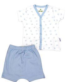 bio kid Half Sleeves Onesies Printed Night Suit - White Blue