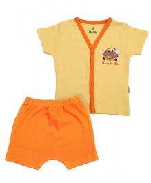 bio kid Half Sleeves Printed Night Suit - Yellow Orange