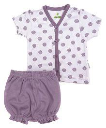 bio kid Half Sleeves Printed Top And Bloomer - White Purple