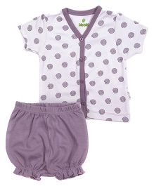 bio kid Half Sleeves Printed Top And Bloomer - White Purple