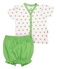 bio kid Half Sleeves Printed Top And Bloomer - White Green