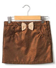 Beebay Lurex Bow Skirt - Bronze Brown
