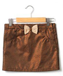 Beebay Lurex Bow Skirt - Bronze Brown