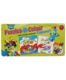 Yash Toys Educational 2 In 1 Puzzles N Colour - Transport