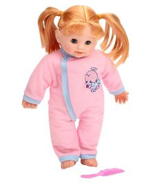 Baby Doll In Kimono Style Dress With Comb Pink - Height 31 cm