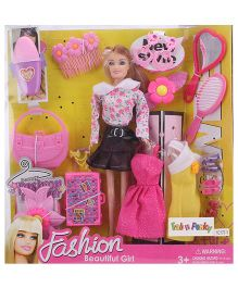 Doll And Accessories Set Pink - Height 28 cm