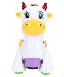 Cow Shape Musical Pull Along Toy - White