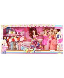 Dolls And Accessories Set Pink - Height 28 cm