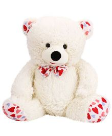 Play Toons Teddy Bear With Bow Off White - Height 26 Inches