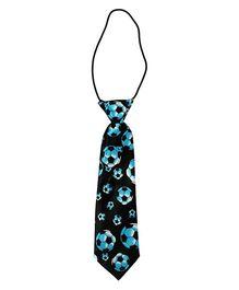 Football Print Tie - Blue & Black