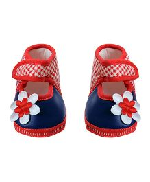 Morisons Baby Dreams Baby Booties Flower Applique - Blue And Red