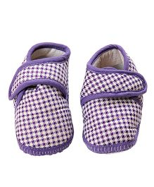 Morisons Baby Dreams Baby Booties Checks - Purple