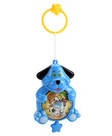 Dog Face Baby Rattle - Blue