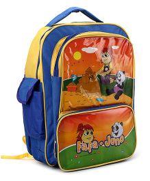 Fafa n Juno School Bag Orange And Dark Blue - 16 Inch