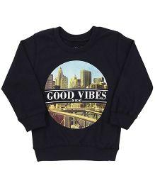 Doreme Full Sleeves T-Shirt Good Vibes Print - Navy