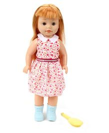 Baby Doll In Western Attire With Comb - Dark Pink
