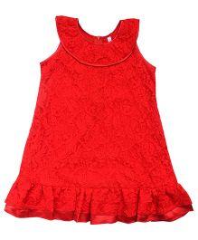 Campana Net A-Line Dress - Red